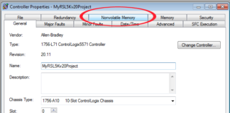RSL5K Controller Properties with Nonvolatile Memory Tab Circled