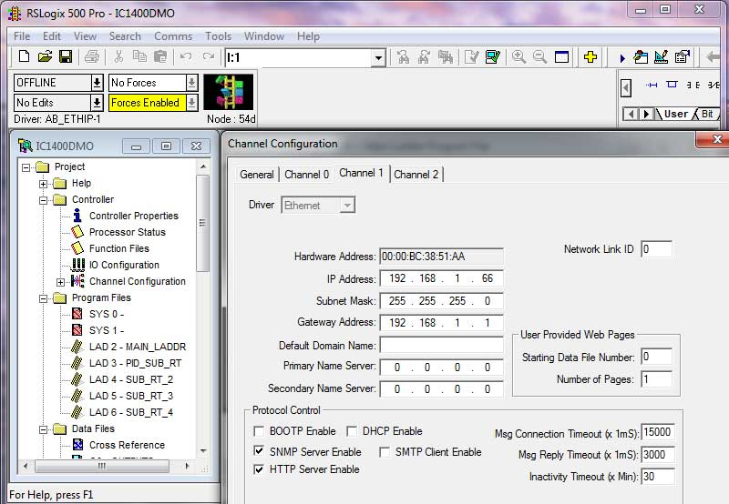 MIcroLogix 1400 MAC and IP Address viewed in RSLogix500