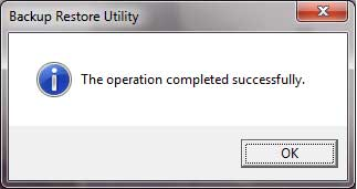 RSLinx Backup and Restore Utility Operation Complete