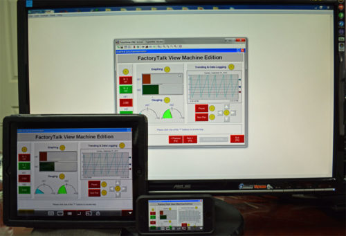 3 Apple iPad 2, iPhone 5s and Windows 7 PC simultaneously connected to a single PanelView Plus 6 using VNC
