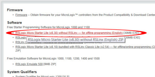 Download free programming software for MicroLogix
