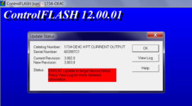 Failed to flash 1734-OE4C step 4