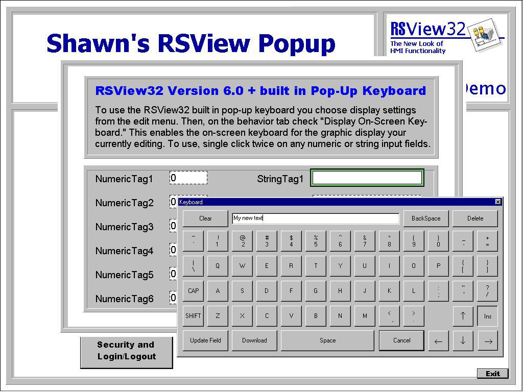 RSVIew32 Popup Keyboard Demo