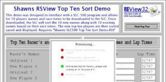 RSView32 Top Ten Sorting Demo