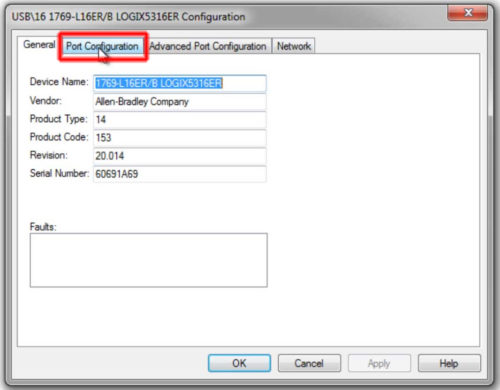 RSLinx to CompactLogix Change IP 11 Port-Config-L16H