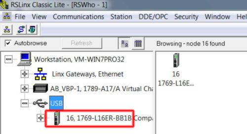 RSLinx to CompactLogix via USB 7 RSL-3h