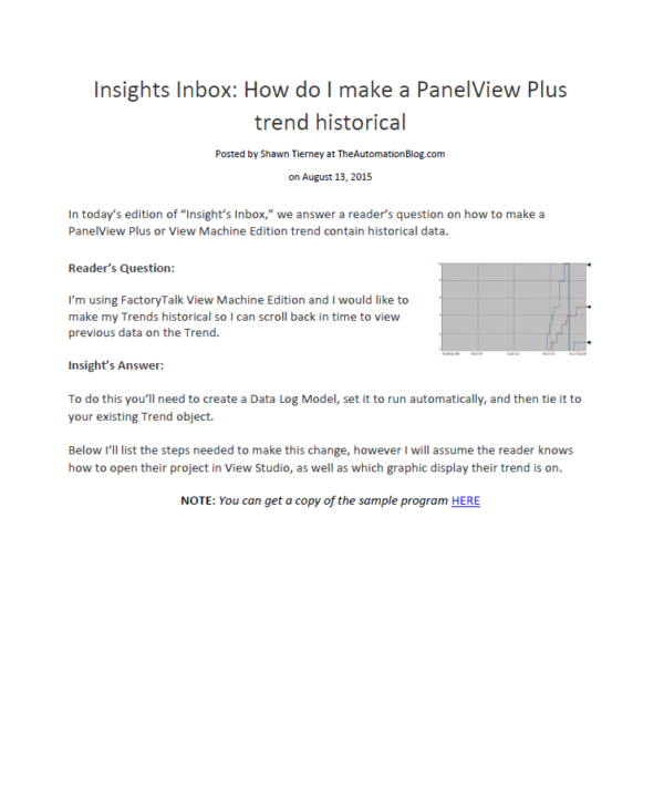 Article - How to make a PanelView Plus trend historical data