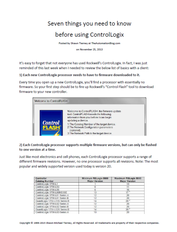 Article - Seven things you need to know before using ControlLogix