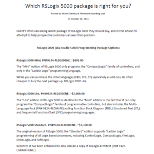 Article - Which RSLogix 5000 package is right for you